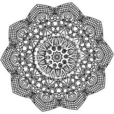 Printable Download Coloring Page, Hand Drawn Zentangle Inspired Abstract Zendoodle Mandala. $2.20, via Etsy.