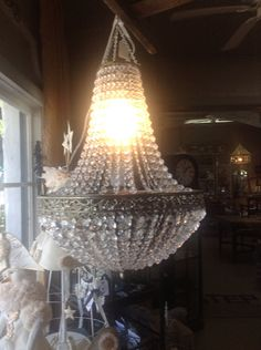 Gorgeous Bell Crystal Chandelier by BurlapandBees on Etsy