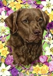 Chesapeake Bay Retriever - Tamara Burnett Easter Flowers Flag