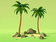 Low Poly Summer Trees (Palm)