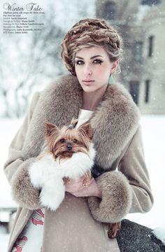 Winter Tale by Julia Kuzmenko McKim, via (Paisley loves the Yorkie! Chinchilla, Cute Puppies, Cute Dogs, Amor Animal, Yorky, Yorkie Dogs, Fabulous Furs, Winter's Tale, Dog Modeling