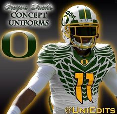 Oregon Ducks Concept Uniforms wild as ever Cool Football Helmets, Football Gear, Football Cleats, Alabama Football, Football Season, College Football Uniforms, Sports Uniforms, Sports Teams, Oregon Ducks Football