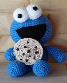 Cookie monster, macaron le glouton doudou crochet façon amigurumi, cadeau Macaron Le Glouton, Confection Au Crochet, Cookies Et Biscuits, Crochet Crafts, Yoshi, Creations, Beanie, Character, Amigurumi