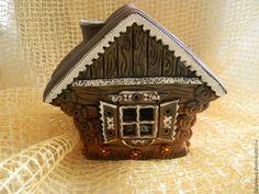 """Купить Подсвечник """"Домик Бабушки Агафьи"""" - коричневый, домик, дом, подсвечник, светильник"""