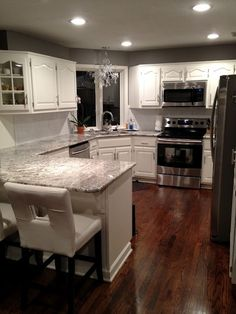 Kitchen remodel- cold springs granite, willow creek paint, white dove wood  #grayandwhitekitchen DELIGHTFUL MOM STUFF: House Stuff: Kitchen!