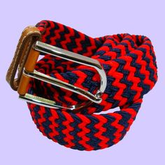 Bassin and Brown Belt Collection - Stripe Elasticated Woven Fabric - Silver Toned Buckle Belt - Navy/Red