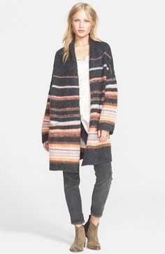 Free shipping and returns on Free People Stripe Alpaca Blend Coat at Nordstrom.com. Variegated sunrise-colored stripes pop on a supersoft alpaca-blend knit coat. Slouchy dropped shoulders and an open shawl neck finish the striking look.