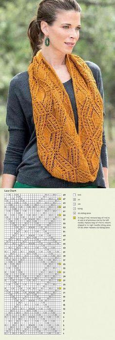 Ажурный узор спицами для шарфа | Ажур