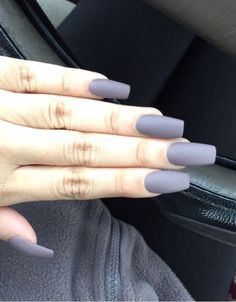 Long Square Matte Acrylic Nails i never seen this color on my nails and sadly wont be lol but its cute for ppl that can pull it off! Grey Matte Nails, Matte Acrylic Nails, Acrylic Nail Designs, Matte Black, Black Nails, Gorgeous Nails, Love Nails, My Nails, Diamond Nails