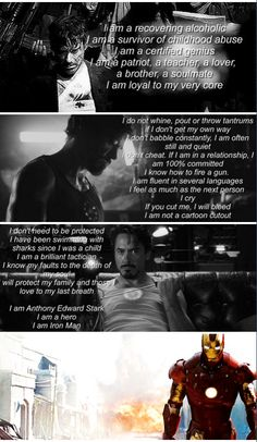 The truth about Tony Stark. Take note, fan fiction writers — keep him in chara… The truth about Tony Stark. Take note, fan fiction writers — keep him in character and don't make him weak or fluff him up! Marvel Memes, Marvel Dc Comics, Marvel Avengers, Marvel Funny, Marvel Art, Iron Man Tony Stark, Fandoms, Dc Movies, Downey Junior