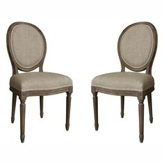 nuLOOM Casual Living Vintage French Round Back Upholstered Linen Dining Chairs (Set of 2) | Overstock.com