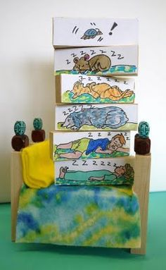 The Napping House by Don & Audrey Wood comes to life in this fun craft. @Doris Vee Benter Love this idea, way cute- Audrey is our Family favorite Author