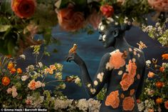 NAKED models merge into the background to become human flower gardens in these stunning illusions