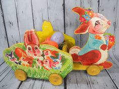 Hey, I found this really awesome Etsy listing at https://www.etsy.com/listing/268004699/wooden-bunny-rabbit-wagon-toy-kraft