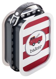 Yubo Grey Lunchbox with PERSONALIZED Fire Engine Faceplate