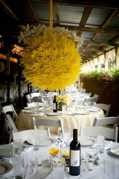 Love this for centerpiece- flower ball thingy from ceiling, small flowers on table.