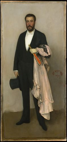 """""""Arrangement in Flesh Colour and Black"""" Portrait of Theodore Duret wearing full evening dress, (oil on canvas, By American Gilded Age Realist Artist: James McNeil Whistler, ~ (cwlyons) ~ (Image: The MET Museum) James Abbott Mcneill Whistler, Giovanni Boldini, Charles Gleyre, Oil Painting Reproductions, Art For Art Sake, Art Graphique, Figure Painting, Painting Art, American Artists"""