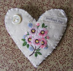Handmade BROOCH textile Heart vintage embroidered by hensteeth, $22.00