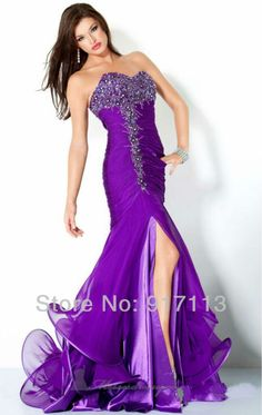 332a4ecbea8 Find More Evening Dresses Information about Sexy Designer Style Purple  Sweetheart Beading Organza Satin Mermaid Evening