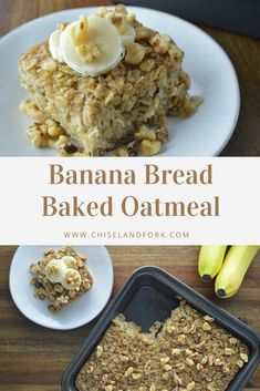 Give this healthy banana bread baked oatmeal recipe a try for breakfast when you're looking for something easy, quick, and protein packed! Made with rolled oats, ripe bananas, and a little maple syrup for natural sugar. The Oatmeal, Oatmeal Banana Bread, Healthy Banana Bread, Baked Banana, Healthy Banana Recipes, Banana Breakfast Recipes, Banana Pudding, Baked Oatmeal Recipes, Healthy Baked Oatmeal