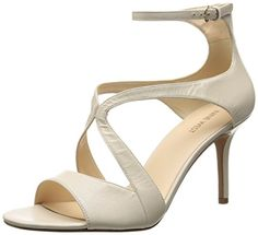 Nine West Womens Gerbera Leather Heeled Sandal Off White 105 M US * Read more reviews of the product by visiting the link on the image.(This is an Amazon affiliate link)