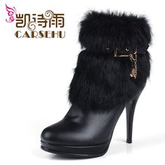 2012 fashion ladies' femal Wool and fur in one fox fur snow boots cowhide wedges 6-in Boots