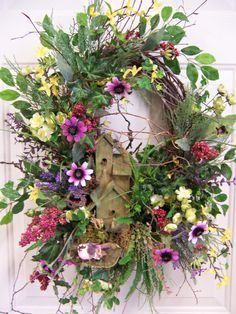 wreaths custom | Outdoor Wreath Wooden Birdhouse Wreath