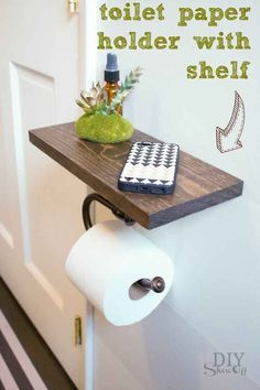 DIY Bathroom Decor Ideas that can be done with cheap Dollar Stores items! These DIY bathroom ideas are perfect for renters and people on a budget. Transform your small bathroom with these classy & easy ideas! Diy Toilet Paper Holder, Toilet Paper Storage, Toilet Roll Holder With Shelf, Diy Bracelet Holder Paper Towel, Toilet Paper Stand, Towel Holder, Diy Bathroom Remodel, Budget Bathroom, Bathroom Hacks