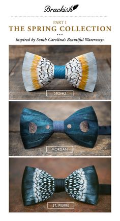 df5ec8578ebd Brackish bow ties are handcrafted with all-natural feathers in Charleston,  SC. Every