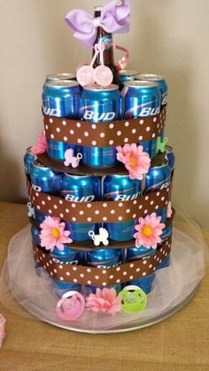 Co - ed Baby Shower Beer Cake