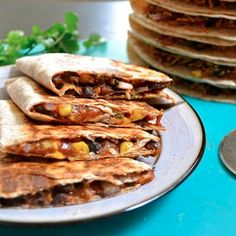 Hearty Black Bean Quesadillas-these are really good! Left overs are great too! Cheesy and flavorful!