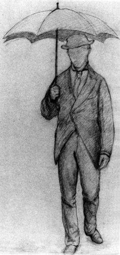 Gustave Caillebotte, Homme sous un parapluie, de face (Études pour Rue de Paris, temps de pluie), 1877, Crayon Conté sur papier, 60,4 x 44,5...