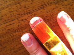 DIY French nails using straight edged brush & acetone