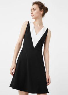 Bicolor dress -  Women   MANGO USA