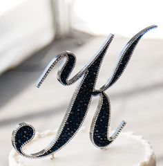 Navy Blue crystal Monogram Cake Topper.  LOL...perfect letter.