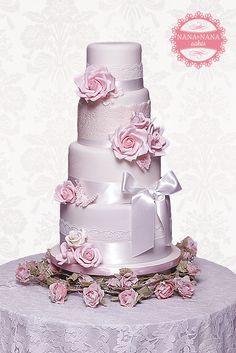 Purple, Lace & Rose Cake