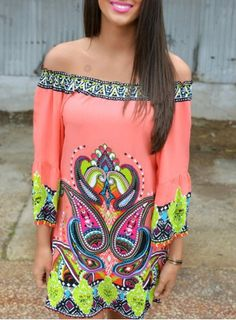 Bohemian Style Off The Shoulder 3/4 Sleeve Paisley Printed Dress For Women