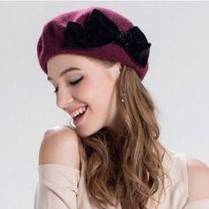Black bow beret hat for women warm winter wool hats