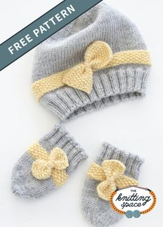 Craft This Lovely Set Of Knitted Baby Hat With A ; basteln sie dieses schöne set aus gestrickter babymütze mit a. fabriquez ce joli ensemble de bonnet en tricot avec un Baby Hat And Mittens, Baby Cardigan Knitting Pattern Free, Baby Hats Knitting, Free Knitting, Knitted Baby Hats, Baby Knitting Patterns Free Newborn, Newborn Knit Hat, Beanie Pattern, Bonnet Crochet