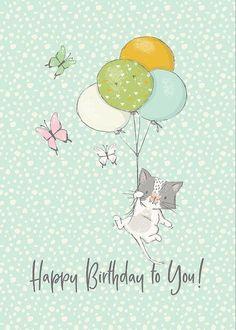 Happy Birthday Flower, Birthday Love, Cat Birthday, Happy Birthday Greetings, Cute Happy Birthday Images, Facebook Birthday, Simple Birthday Message, Happy Birthday Illustration, Birthday Wishes For Friend