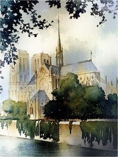 "Thomas W Schaller · ""Years ago at 23 I made the pilgrimage to Paris. - Thomas W Schaller · ""Years ago at 23 I made the pilgrimage to Paris. Watercolor Architecture, Watercolor Landscape Paintings, Watercolour Painting, Watercolors, Cultural Architecture, Art And Architecture, Urban Sketching, Painting Inspiration, Notre Dame"