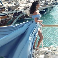 A-Line Off-the-Shoulder Court Train Blue Satin Prom Dress with Pockets
