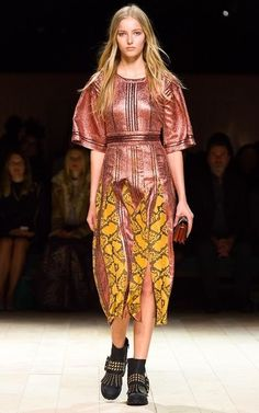 Need a project to work with metallic fabrics. This rose-copper color is amazing. Sew with Threadhead TV.  ~Burberry Fall/Winter 2016 Look 48 on Moda Operandi