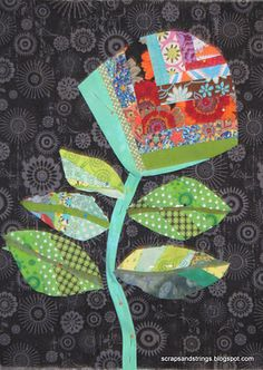 """gorgeous scrappy flower... okay, honestly, this """"gift"""" is for me... I wonder if Grandma Jo will ever be willing to quilt again and make me this... quilt-sized..."""