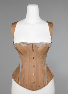 Corset, Madame McCabe, 1887-90, American, cotton/metal/bone/elastic. From the Brooklyn Museum Costume Collection at The Metropolitan Museum of Art.