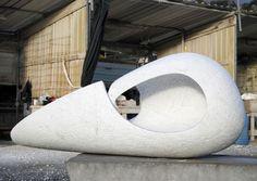 Carrara marble #sculpture by #sculptor Lotte Thuenker titled: 'Grosse Wiege - Big Cradle'. #LotteThuenker