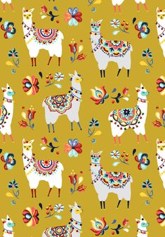 Fabric Llama Alpaca fabric curry yellow Mexican Mexican fabric animals 1 2 meter delivers online tools that help you to stay in control of your personal information and protect your online privacy. Alpaca Illustration, Pattern Illustration, Cute Backgrounds, Cute Wallpapers, Wallpaper Backgrounds, Cellphone Wallpaper, Iphone Wallpaper, Llama Decor, Mexican Fabric