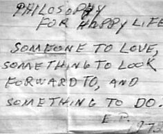 "Elvis wrote ""Philosophy for a Happy Life"" for the only female ""Memphis Mafia"" member and  (long time friend) PATTI PARRY."