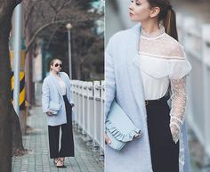 Get this look: http://lb.nu/look/8646041  More looks by Olga Choi: http://lb.nu/choiolga  Items in this look:  Metisu Ruffle Lace Suit, Asos Ruffle Clutch, Ray Ban Sunglasses   #chic #classic #romantic