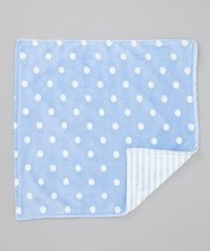 Blue Polka Dot Minky Security Blanket